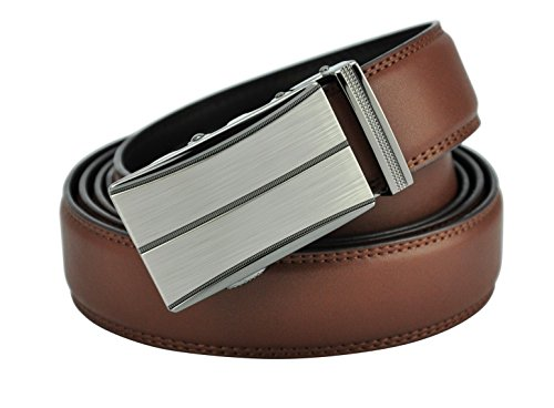 Hampton Men's Leather Belt with Innovative Contempo Ratchet Belt Buckle (44-48 XX-large, Sienna Buckle with Burnished Saddle Tan Leather) ()