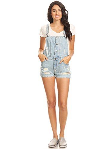 Anna-Kaci Women's Junoirs Casual Adjustable distressed Pockets Short Bib Overalls, Blue, X-Small