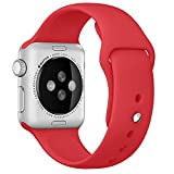 Apple Watch Band, HuanlongTM Soft Silicone Sport Style Replacement Iwatch Strap for Apple Wrist Watch (Red 38mm S/M)
