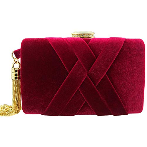 Velvet Evening Clutch, BETITETO Elegant Bridal Purse Structured Tassel Party Prom Cocktail Wedding Bag for Women Girls (Wine Red)