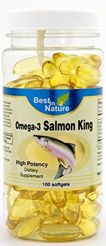 (Omega-3 Salmon King 1000mg 100softgels – Vitamins from the deep sea, high potency EPA/DHA. Omega-3 fatty acids may reduce the risk of coronary heart disease. Created by Best in Nature.)