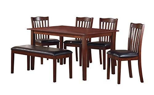 Homelegance Schaffer 6 Piece Dining Table Set with Bench, (Homelegance Set Table)