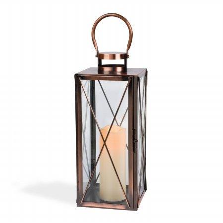 Gerson 42025 6.7x16.3 Metal Lantern, Copper - Pack of 2