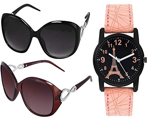 Y&S Women's Butterfly Sunglasses With Analogue Watch (Black & Brown Lens) (Free Size)