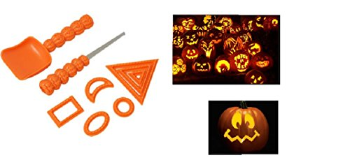 Kids Pumpkin Carving Kit 9 Piece Stencil Gadget- Halloween Jack O Lantern Face Pattern Tools ()