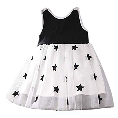 NUWFOR Children Kids Girls Sleeveless Vest Splicing Stars Print Gauze Princess Dress(White,4-5 Years) -