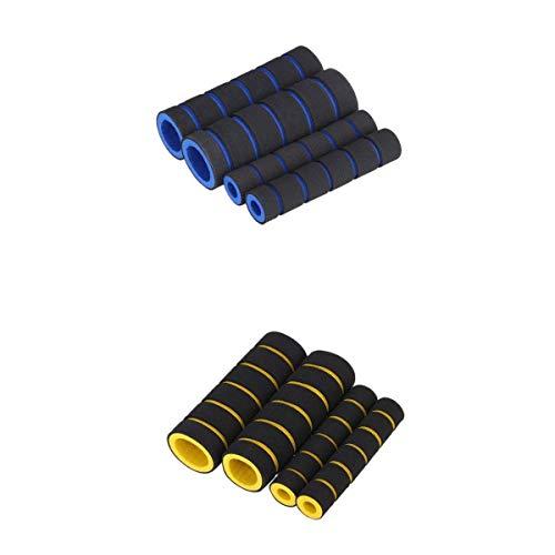 non-brand MagiDeal 2 Set 4 En 1 Espuma De Motocicleta Manija Antideslizante Cubre Manillar Amarillo Y Azul