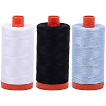 AURIFIL Cotton Mako 50wt Thread 3 Large Spools: White + Black + Light Robins Egg (2024+2692+2710)