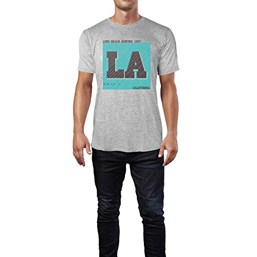 Sinus Art ® Herren T Shirt Long Beach Surfing 1997 ( Heather_Grey ) Crewneck Tee with Frontartwork