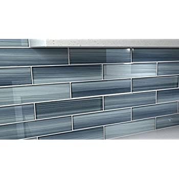 Ice Mist Glossy Blue Grey Glass Tile Bathroom Tile