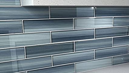 Deep Ocean Blue, Gentle Grey Glass Tile Perfect For Kitchen Backsplash Or  Bathroom, Color