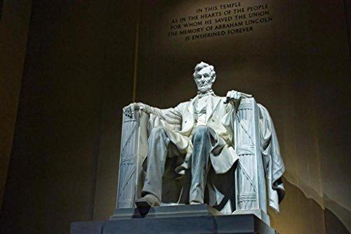Abraham Lincoln Memorial Statue Washington DC Photo Photograph Laminated Dry Erase Sign Poster ()