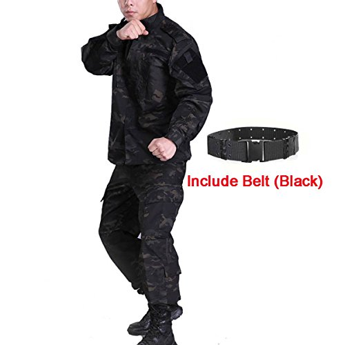 H World Shopping Men Tactical BDU Combat Uniform Jacket Shirt & Pants Suit for Army Military Airsoft Paintball Hunting Shooting War Game Multicam Black MCBK (M) Camo Bdu Set Pants Shirt