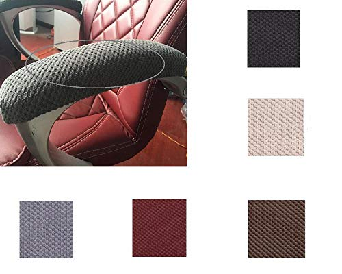 Iseedy Soft Chair Arm Pad Covers Over,Simple Durable Washable Office Chair Armrest Slipcovers Covers Pads (2 Pcs/Set). (Coffee)
