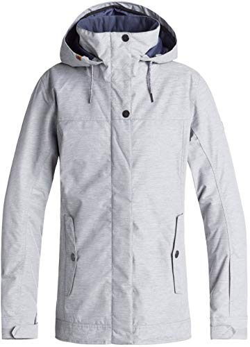Jacket Hood Snowboard (Roxy Snow Junior's Billie Snow Jacket, Warm Heather Grey, M)