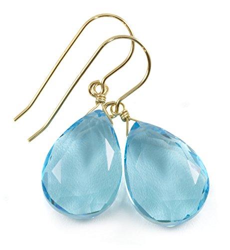 (14k Yellow Gold Filled Aqua Blue Simulated Aquamarine Earrings Faceted Teardrops Simple Dangle Drops 1.4