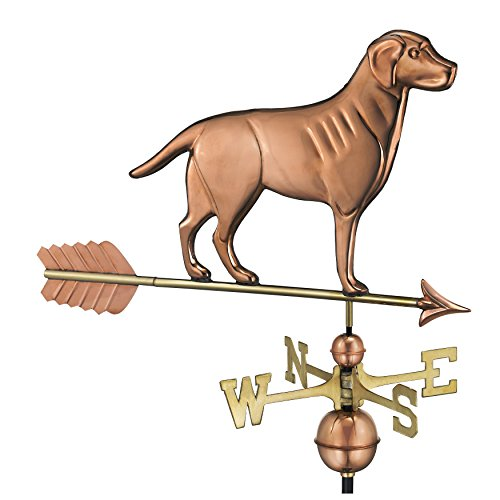 Good Directions Labrador Retriever / Dog Weathervane with Arrow, Pure Copper