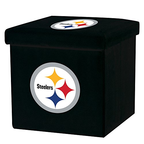 Franklin Sports NFL Pittsburgh Steelers Storage Ottoman with Detachable Lid 14 x 14 x 14 - Inch -