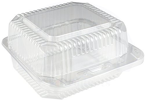(Clear Plastic Medium Square Hinged Food Container, 5