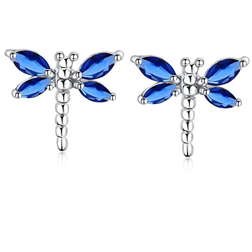 New Fashion Women 18k Gold Plated Dragonfly Crystal Stud Earrings Jewelry (blue) ()