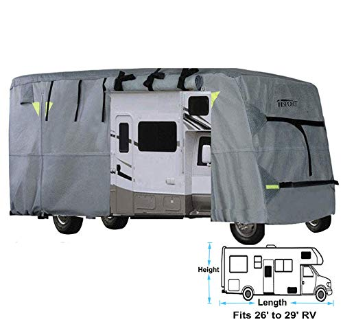 iiSPORT Upgrade 4-Ply Top Panel Class C Motorhome RV Cover Fits 26'- 29' Long Ripstop Waterproof RV Covers with Storage Bag, Reflective Panel, Air Vents & Repair Adhesive Patch ()