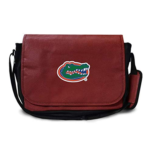 Zumer Sport Florida Gators Football Leather Laptop Computer Case Messenger Shoulder Bag - Made with Genuine Football Materials - Brown
