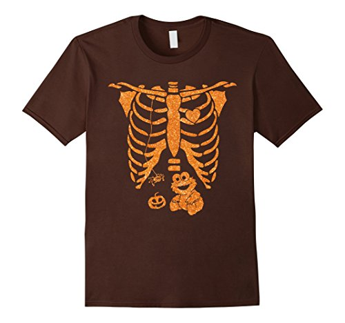 Monster Carrying Man Costume (Mens X-ray Skeleton Pregnant Mom T-shirt Blue Monster Baby Small Brown)