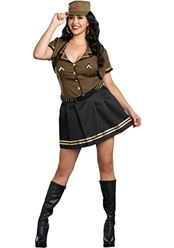 [Dreamgirl Women's Army Brat Military Plus-Size Costume,Multi, 3X/4X] (Army Halloween Costumes Women)