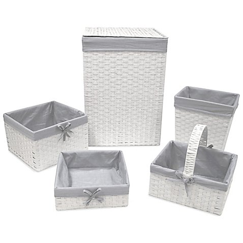 Redmon Baby Hampers - Redmon 5-Piece Hamper Set with Grey Liners in White