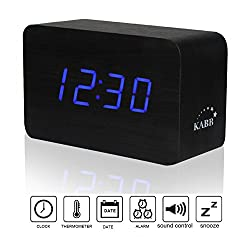 Wooden Alarm Clock, KABB Wood Grain Design Digital Alarm Clock with Time Date Temperature Display and Sound Control Function- Latest Generation - Excellent Size - (Black with Blue LED Light )