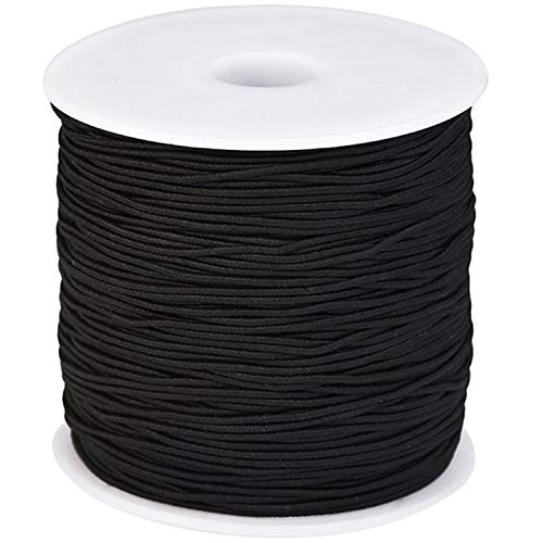 1mm Black Elastic Cord Beading Thread Stretch String for Bracelet Making