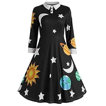 YEMOCILE Womens Stylish Star Moon Cartoon Printed Polo Collar Expansion Skirt Mid Length Dress Basic Blouse Black