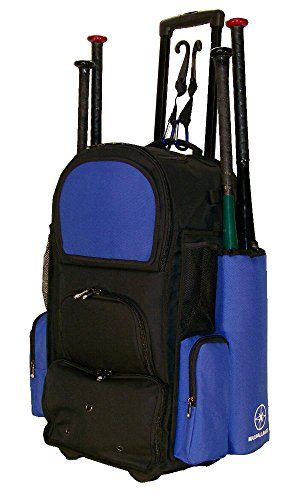 New Design Vista CTR in Black and Royal Blue Softball Baseball Bat Equipment Roller Backpack with Innovative Removable Bat Sleeves, Embroidery Patch and Pull out Handle by MAXOPS