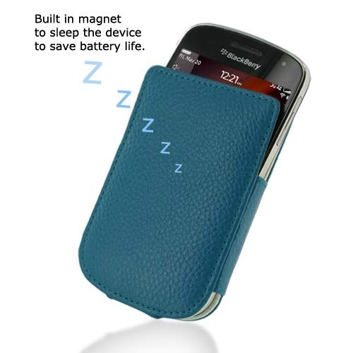 PDair Handmade Leather Pocket Pouch Case for BlackBerry Bold 9900 9930 (Teal Pebble Leather) ()
