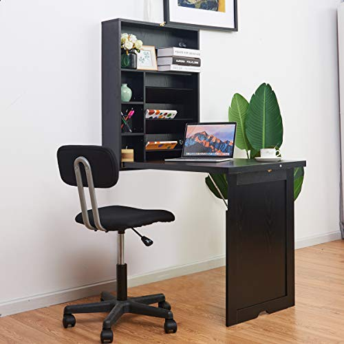 TANGKULA Wall Mounted Table Fold Out Multi-Function Laptop Desk Convertible Desk Writing Desk Home Office Wood Convertible Desk; Large Storage Area(Black/White) (Black)
