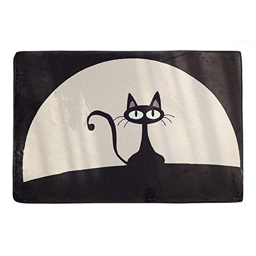 ChezMax Flannel Non-slip Indoor Outdoor Doormat Inside Outside Front Door Mat Rectangle Carpet Floor Rug For Boy Bedroom Black Cat