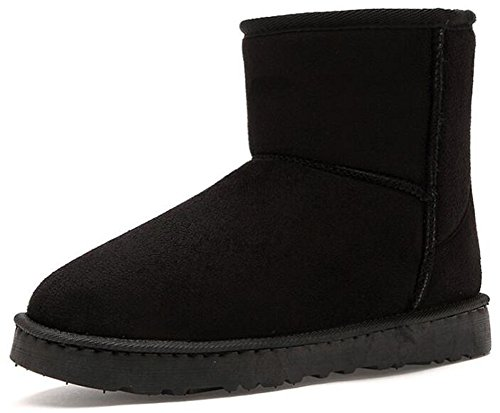 IDIFU Women's Men's Unisex Solid Fleece Lined Flat Winter Boots Ankle High Snow Booties (Black, 9 men D(M) US) by IDIFU