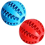 """Dog Treat Toy Ball, Dog Tooth Cleaning Toy, Interactive Dog Toys(1 Red+1 Blue) 2.8"""" Pack of 2"""