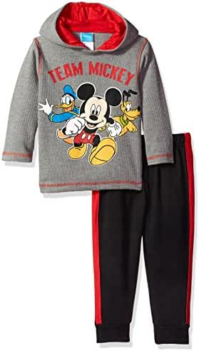 Disney Toddler Boys' 2 Piece Mickey Mouse Thermal Top and Fleece Jogger