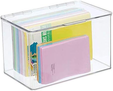 agujas y abalorios Organizador de hilos de coser transparente mDesign Juego de 2 cajas con compartimentos para costura y manualidades Costurero cuadrado de pl/ástico con tapa y 8 divisiones