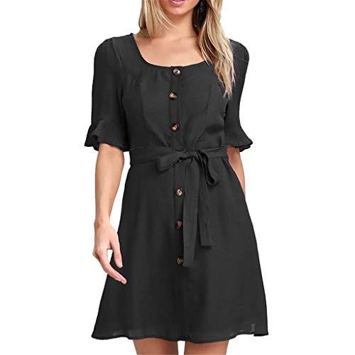 ♥ HebeTop ♥ Women Fashion Casual Half Sleeve Ruffles Square Collar Button Solid Mini Tunic Dress with Belt Black