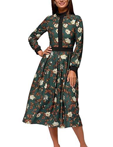 Simple Flavor Womens Floral Vintage Midi Dress Elegant Work Dress Long Sleeve