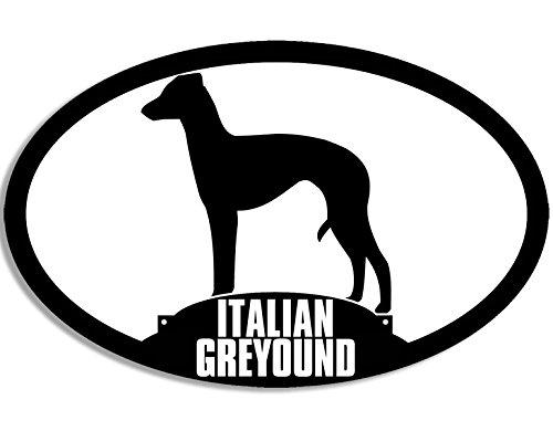 American Vinyl Oval Italian Greyhound Silhouette Sticker (Italy Dog Breed)
