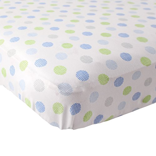 Luvable Friends Fitted Knit Cotton Crib Sheet Crosshatch Dot, Blue ()
