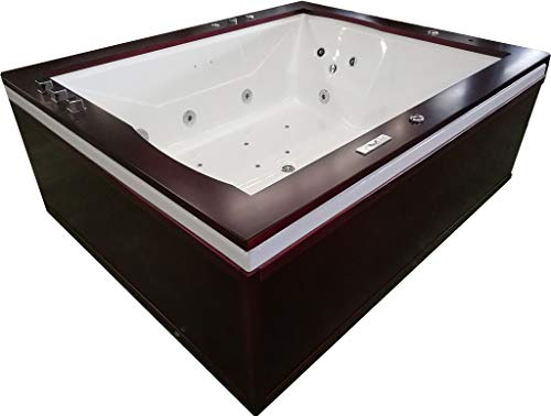 2 Person Luxury Massage Hydrotherapy Solid Wood Corner Bathtub Tub Whirlpool, with Bluetooth, Remote Control, Inline Water Heater, and 27 Total Jets (Two Person Whirlpool)