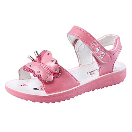 Respctful✿Kids Girl Leather Sandals Causl Open Toe Adjustable Flat Hook & Loop Shoes Cute Flower Outdoor and Indoor Watermelon -