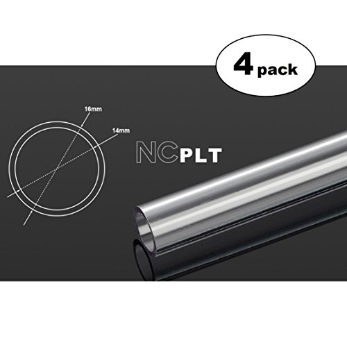 Bitspower None Chamfer PETG Link Tube, 16mm OD, 1000mm, Clear, 4-pack