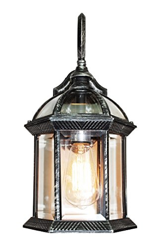 "Trans Globe Lighting 4181 SWI Outdoor Wentworth 15.75"" Wall Lantern, Swedish Iron"
