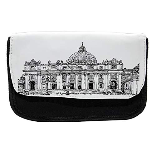 Lunarable Vintage Pencil Case, St Peters Building Vatican, Fabric Pen Pencil Bag with Double Zipper, 8.5