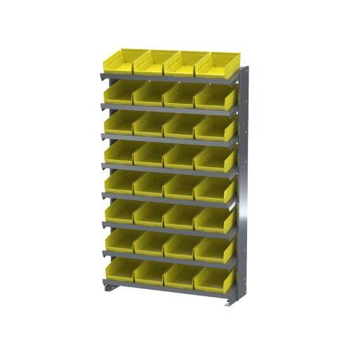 - Akro-Mils APRS150Y Single Sided Pick Rack with 32 30150 Yellow Shelf Bins